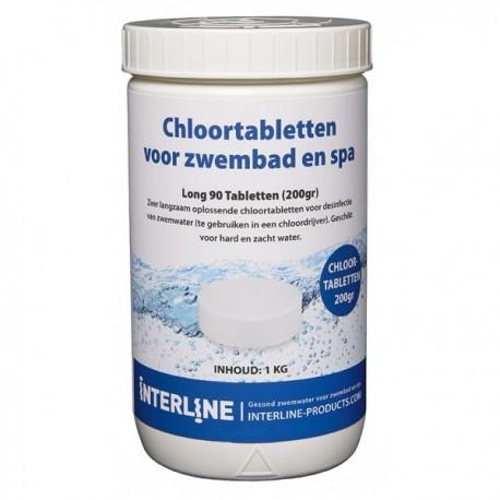 Interline Chloortabletten 1kg - Long90 200gram (groot)