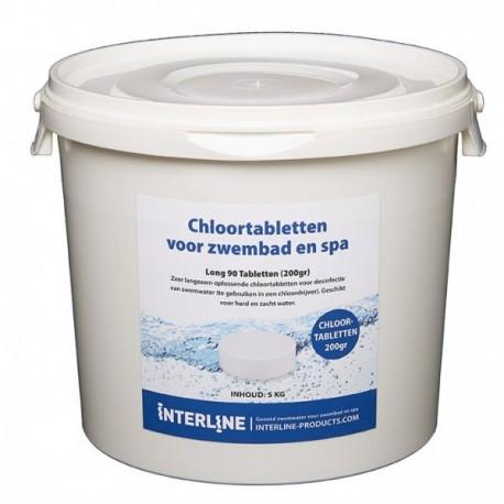 Interline Chloortabletten 5kg - Long90 200gram (groot)